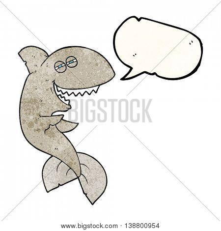 freehand speech bubble textured cartoon laughing shark
