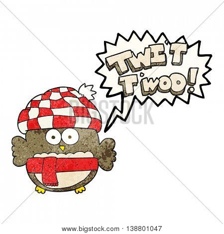 freehand speech bubble textured cartoon cute owl saying twit twoo