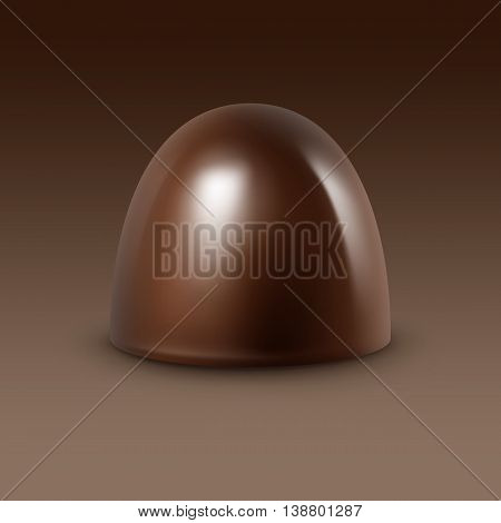 Realistic Dark Black Bitter Chocolate Candy Isolated on Background