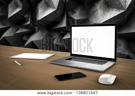 Laptop, tablet, phone and mouse in the concrete walls in the background. 3d rendering.