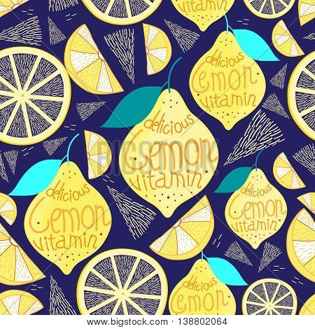 Bright pattern of lemons and cloves on a dark blue background