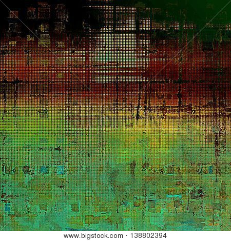 Grunge texture or background with retro design elements and different color patterns: yellow (beige); brown; black; green; red (orange); cyan