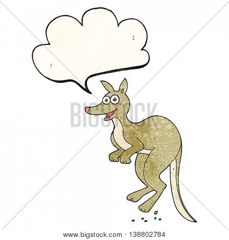 freehand speech bubble textured cartoon kangaroo