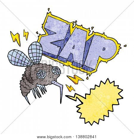 freehand speech bubble textured cartoon fly zapped
