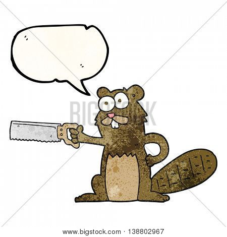 freehand speech bubble textured cartoon beaver with saw