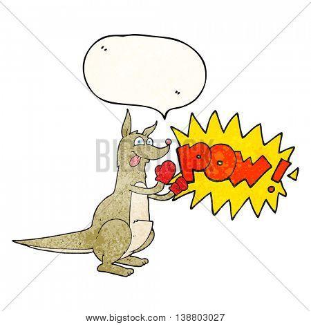 freehand speech bubble textured cartoon boxing kangaroo