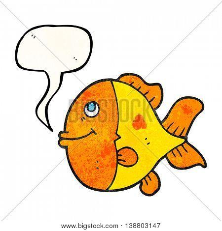 freehand speech bubble textured cartoon fish