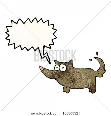 freehand speech bubble textured cartoon dog wagging tail