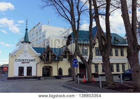Nizhny Novgorod Russia. - April 22.2016. Hotel Courtyard Marriott City Center Nizhny Novgorod on the street Ilyinskaya 46.