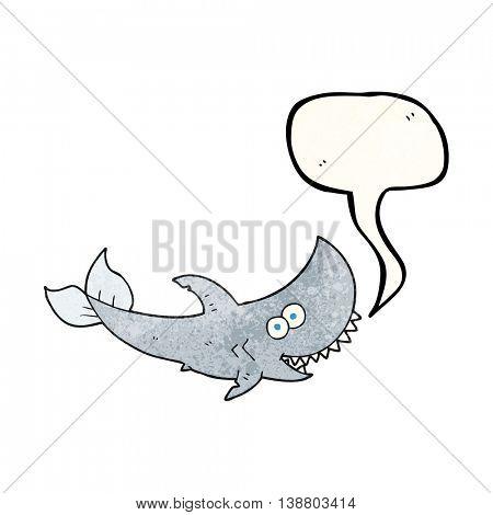 freehand speech bubble textured cartoon shark