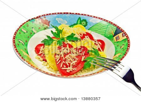 Plate with ravioli isolated
