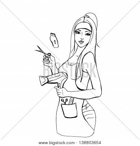 Professional hairdresser with hairdryer. Hand drawn vector stock illustration. Black and white whiteboard drawing.