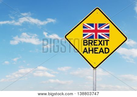 Brexit concept. Image of a yellow signpost with flag of England and text of Brexit Ahead