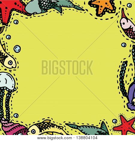 Sea underwater creatures. Hand drawn vector stock illustration. Frame background pattern.