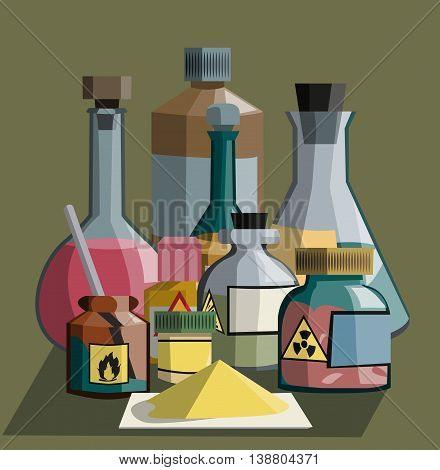 composition of various glassware: conical and flasks, bottles,