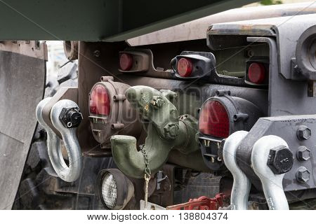 Military tow truck hook close up image