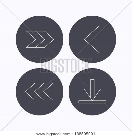 Arrows icons. Download, left and right direction linear signs. Next, back arrows flat line icons. Flat icons in circle buttons on white background. Vector
