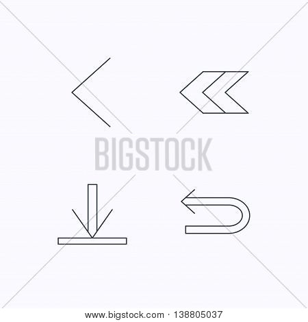 Arrows icons. Download, left direction linear signs. Next, back arrows flat line icons. Flat linear icons on white background. Vector