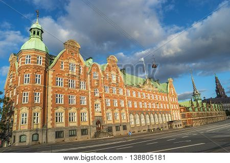Old Stock Exchange Illuminated In Early Morning, Copenhagen, Denmark