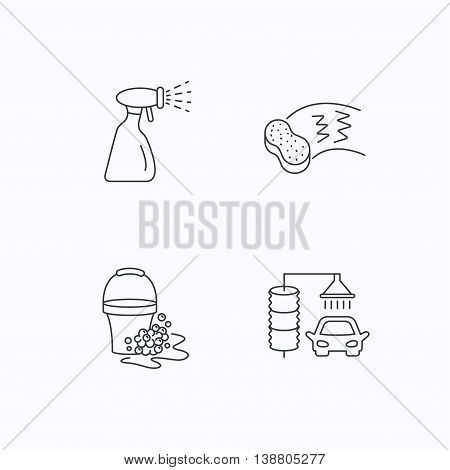 Car wash icons. Automatic cleaning station linear signs. Bucket with foam bubbles, sponge and spray flat line icons. Flat linear icons on white background. Vector