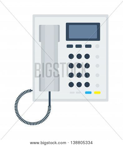 Office business keypad phone and icon of old classic mobile phone vector. Modern style mobile phone technology cellphone vector illustration isolated