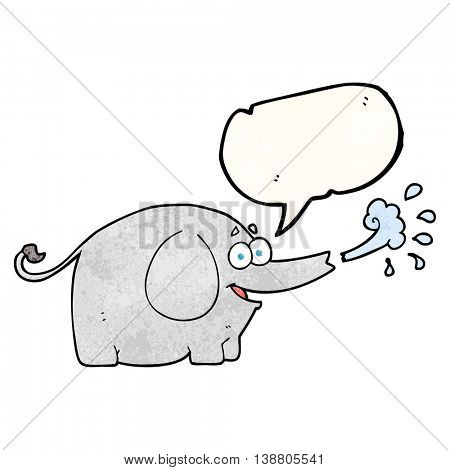 freehand speech bubble textured cartoon elephant squirting water