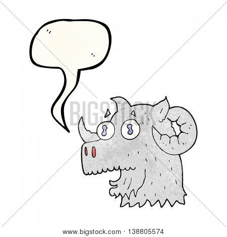 freehand speech bubble textured cartoon ram head