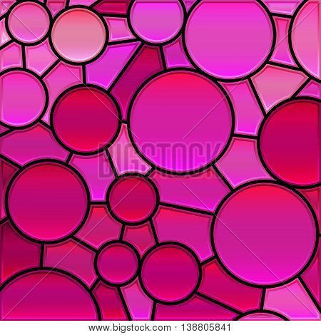abstract vector stained-glass mosaic background - magenta circles