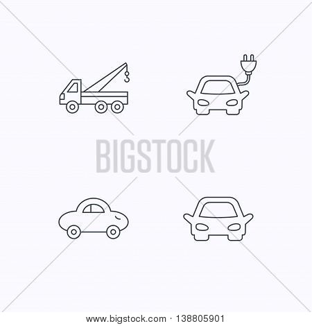 Electric car, evacuator and transport icons. Car linear signs. Flat linear icons on white background. Vector