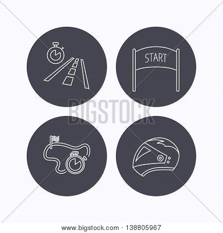 Motorcycle helmet, race timer and travel time icons. Start race linear sign. Flat icons in circle buttons on white background. Vector