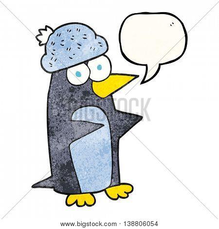freehand speech bubble textured cartoon penguin