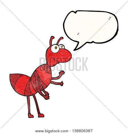 freehand speech bubble textured cartoon ant