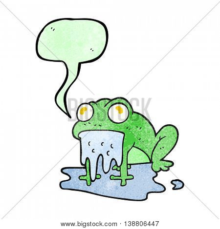 freehand speech bubble textured cartoon gross little frog
