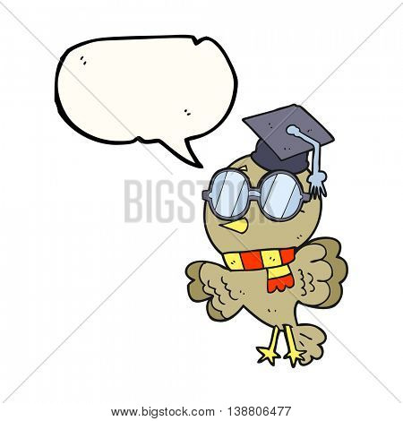 cute freehand drawn speech bubble cartoon well educated bird