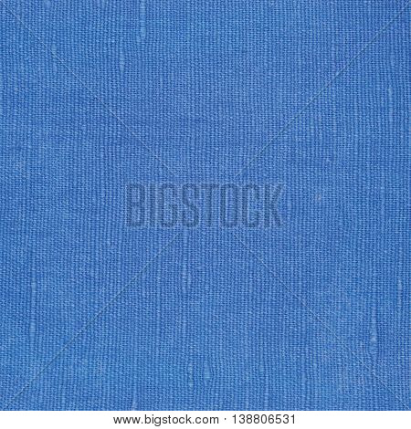 Natural Bright Blue Flax Fiber Linen Texture, Detailed Macro Closeup, Rustic Crumpled Vintage Textured Fabric Burlap Canvas Pattern, Rough Background Copy Space