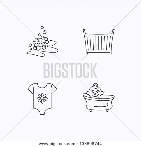 Baby clothes, bath and crib icons. Bath bubbles linear sign. Flat linear icons on white background. Vector