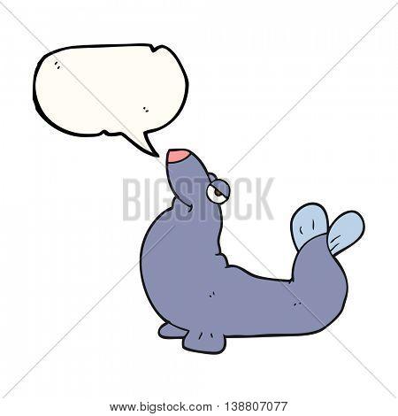 freehand drawn speech bubble cartoon proud seal