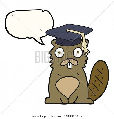 freehand drawn speech bubble cartoon beaver graduate