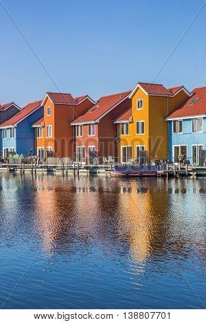 Colorful houses at the Reitdiephaven in Groningen The Netherlands