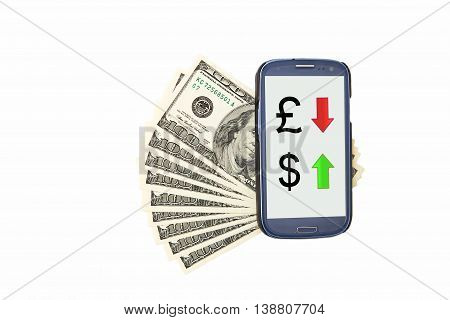 Smartphone lying on the USdollars, currency exchange symbols on display. isolated on a white background