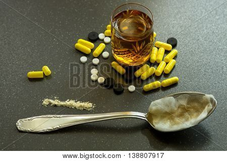 Cocaine and opium in cooking along with pills.