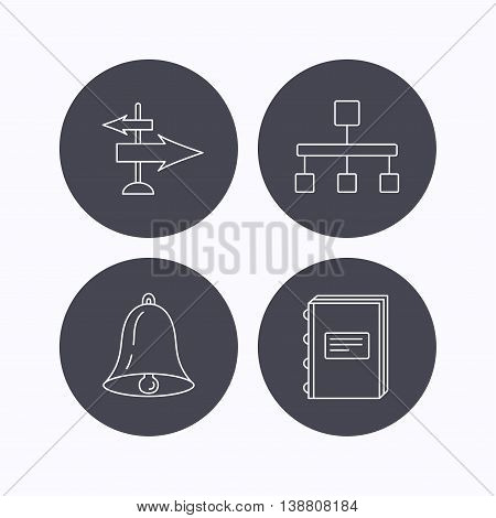 Book, hierarchy and direction arrows icons. Alarm bell linear sign. Flat icons in circle buttons on white background. Vector