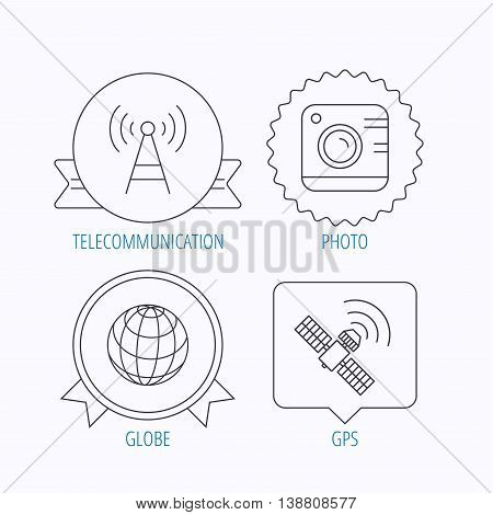 Photo camera, globe and gps satellite icons. Telecommunication station linear sign. Award medal, star label and speech bubble designs. Vector