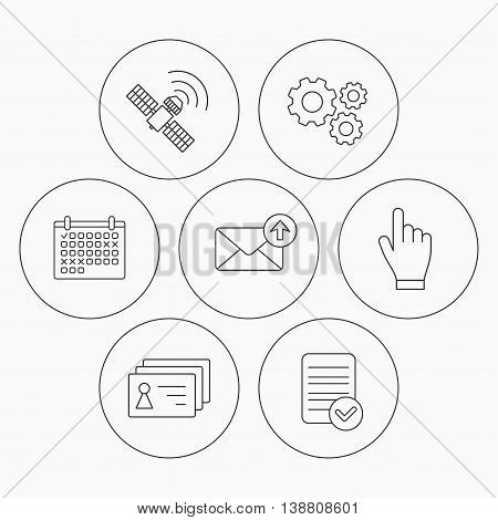 Hand pointer, contacts and gps satellite icons. Outbox mail linear sign. Check file, calendar and cogwheel icons. Vector