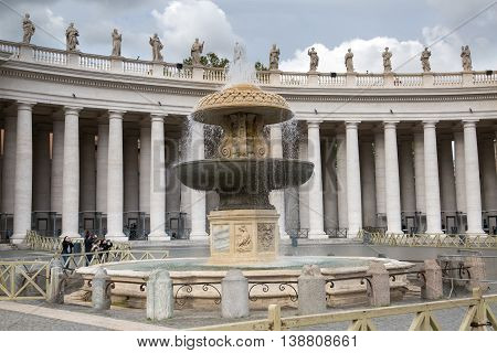 ROME, ITALY - APRIL 8, 2016: vatican main square in front of Saint Peter's basilica