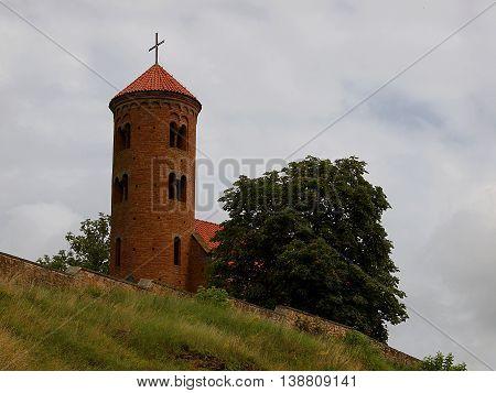 Inowlodz, Poland - July 16, 2016 Romanesque church. Giles Church (1089) in Inowlodz.