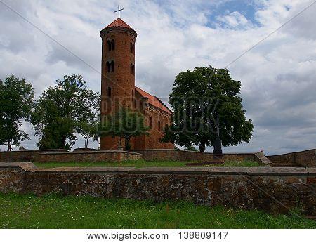 Inowlodz, Poland - July 16, 2016 Romanesque church. Giles (1089) in Inowlodz.
