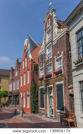 LEER, GERMANY - JULY 13, 2013: Shops in the historical center of Leer, Germany
