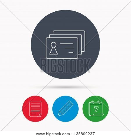 Contact cards icon. Identification badges sign. Identity holder symbol. Calendar, pencil or edit and document file signs. Vector