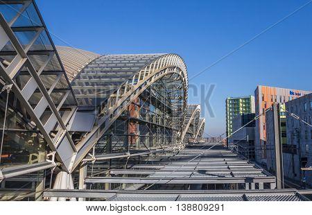 LEUVEN, BELGIUM - MARCH 8, 2015: Steel roof of the modern railway station of Leuven, Belgium